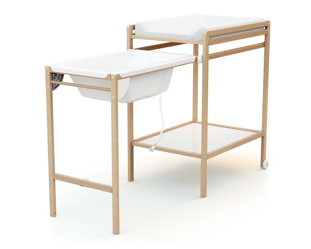 Table A Langer Avec Baignoire Essentiel Hetre Verni At4