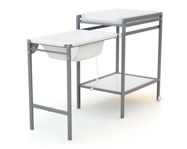 Table A Langer Avec Baignoire Essentiel Gris At4