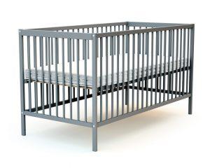 Grand lit bébé en bois laqué gris