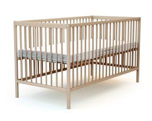 Grand lit bébé en bois brut
