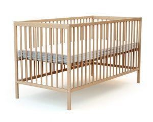 Grand lit bébé en bois verni