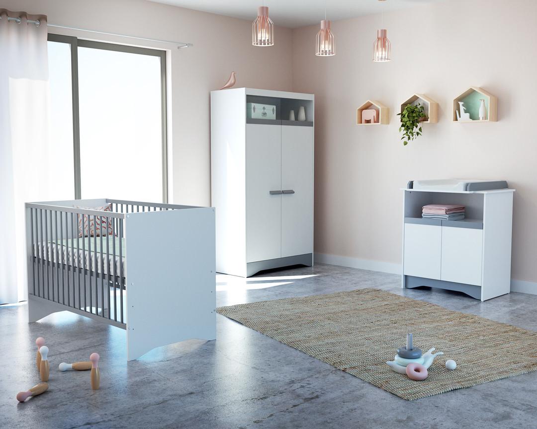Chambre Gris Blanc Rose chambre complète cotillon blanc et gris