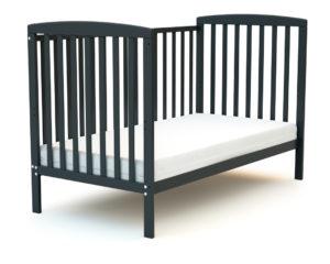 Grand lit bébé en bois gris graphite